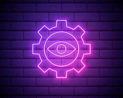 Eye and gear neon icon. Simple thin line, outline vector of startup icons for ui and ux, website or mobile application isolated on brick wall.