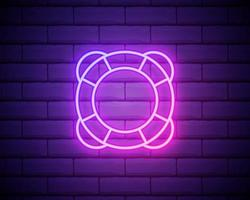 Lifebuoy neon icon. Elements of Camping set. Simple icon for websites, web design, mobile app, info graphics isolated on brick wall vector