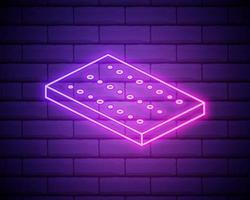 Orthopedic bed mattress neon light icon. Memory foam, latex, innerspring mattress. Bedding. Vector isolated illustration