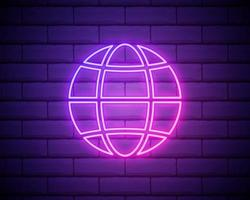 Glowing neon line Earth globe icon isolated on brick wall background. World or Earth sign. Global internet symbol. Geometric shapes. Vector Illustration.