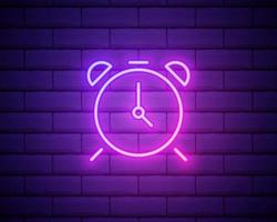 Glowing neon line Alarm clock icon isolated on brick wall background. Wake up, get up concept. Time sign. Vector Illustration