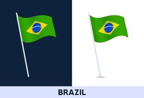 brazil vector flag. Waving national flag of Italy isolated on white and dark background. Official colors and proportion of flag. Vector illustration.