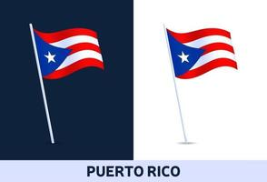 puerto rico vector flag. Waving national flag of Italy isolated on white and dark background. Official colors and proportion of flag. Vector illustration.