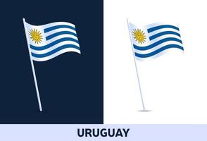 uruguay vector flag. Waving national flag of Italy isolated on white and dark background. Official colors and proportion of flag. Vector illustration.