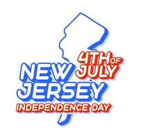 new jersey state 4th of july independence day with map and USA national color 3D shape of US state Vector Illustration