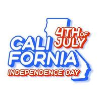 california state 4th of july independence day with map and USA national color 3D shape of US state Vector Illustration