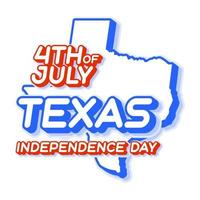 texas state 4th of july independence day with map and USA national color 3D shape of US state Vector Illustration