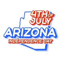 arizona state 4th of july independence day with map and USA national color 3D shape of US state Vector Illustration
