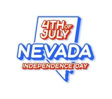 nevada state 4th of july independence day with map and USA national color 3D shape of US state Vector Illustration