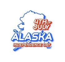 estado de alaska, 4 de julio, día de la independencia, con, mapa, y, estados unidos, color nacional, 3d, forma, de, estados unidos de américa, vector, ilustración vector
