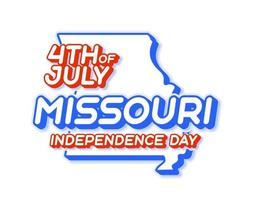missouri state 4th of july independence day with map and USA national color 3D shape of US state Vector Illustration