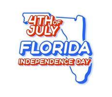 Estado de Florida 4 de julio día de la independencia con mapa y color nacional de EE. UU. forma 3d de la ilustración de vector de estado de EE. UU.