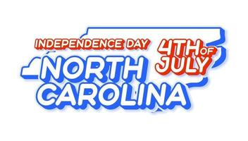 north carolina state 4th of july independence day with map and USA national color 3D shape of US state Vector Illustration