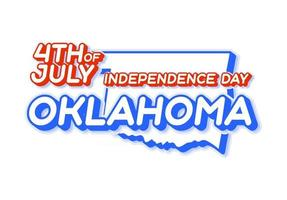 oklahoma state 4th of july independence day with map and USA national color 3D shape of US state Vector Illustration