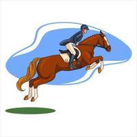 Horse Riding Woman Riding Horse Jumping Cartoon Style vector