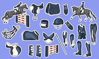 Big set of equipment for the rider and ammunition for the horse rider on horse illustration in cartoon style vector