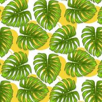 Tropical seamless pattern with exotic leaves in cartoon style vector