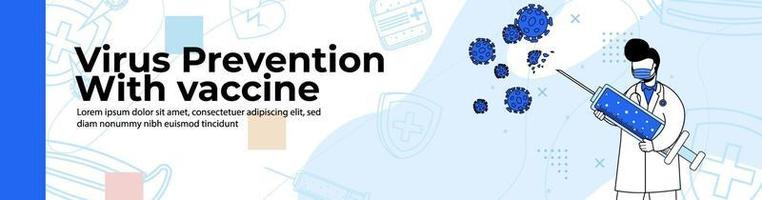 Virus Prevention with vaccine Web Banner Design. the doctor kills the virus with a big syringe containing the vaccine.header or footer banner. vector