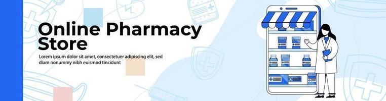 Online pharmacy store Web Banner Design header or footer banner. vector