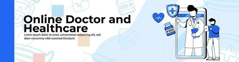 Online Doctor and Healthcare Web Banner Design.a man a consulting doctor on a health app. online doctor application header or footer banner. vector