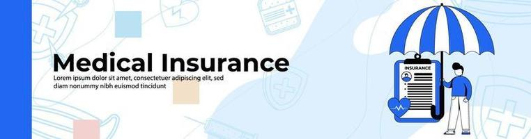 Medical insurance Web Banner Design.a man with health insurance. header or footer banner. vector