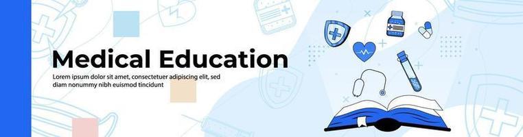 diseño de banner web de educación médica libro de contabilidad abierto con medicina, salud y herramientas médicas. banner de encabezado o pie de página. vector