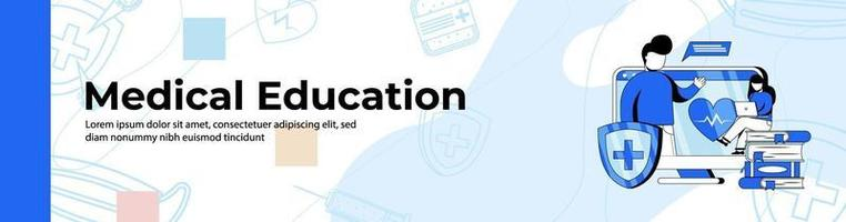 Medical Education Web Banner Design. A woman watching medical webinar on monitor. Medical class, Online Education header or footer banner. vector