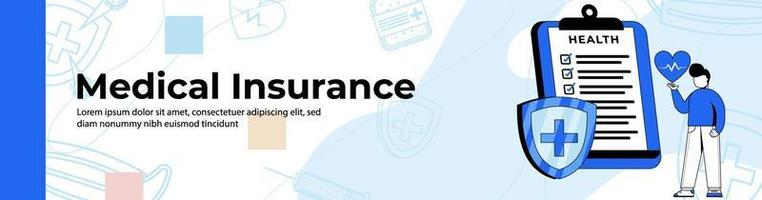 Medical insurance Web Banner Design. a man with health insurance. header or footer banner. vector