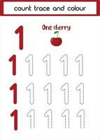 count trace and colour one cherry vector