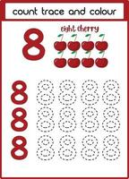 count trace and colour eight cherries vector
