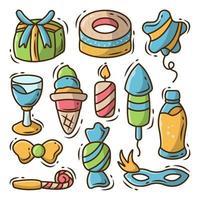 Hand drawn birthday items cartoon doodle style vector