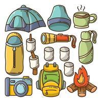 Set of hand drawn camping cartoon doodle bundle vector