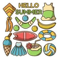 Set of hand drawn summer group cartoon doodle with summer greeting banner vector