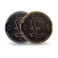 British Pound Digital Coin vector