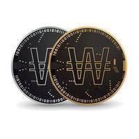 moneda digital de won coreanos vector