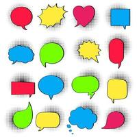 16 Speech bubbles on halftone flat style design another shapes hand drawn comic cartoon style set vector illustration isolated on white background. Round, cloud, square, heart, rectangle shapes etc.