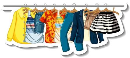 A sticker template of Clothes racks with many clothes on hangers on white background vector