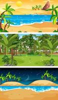 Three different forest horizontal scenes vector