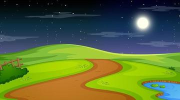 Nature forest landscape at night scene vector