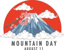 Mountain Day in Japan on August 11 banner with Mount Fuji vector