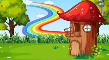 Nature landscape scene background with mushroom house vector