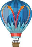 Hot air balloon in cartoon style isolated vector