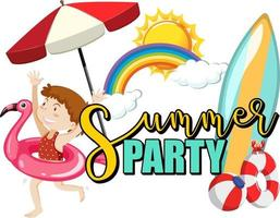 Summer Party text with a girl cartoon character and beach items isolated vector
