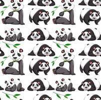 Seamless pattern with panda in many poses on white background vector