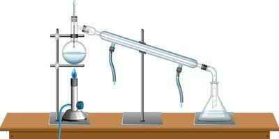 Laboratory equipments on white background vector