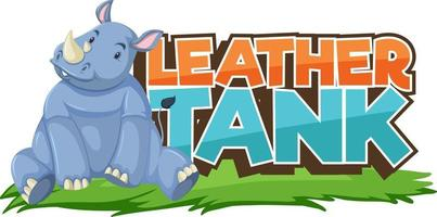 Rhinoceros cartoon character with Leather Tank font banner isolated vector