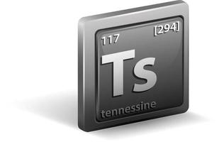 Tennessine chemical element. Chemical symbol with atomic number and atomic mass. vector