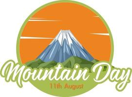 Mountain Day on August 11 banner with Mount Fuji vector