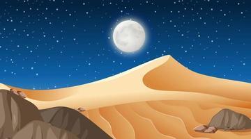 Desert forest landscape at night scene vector