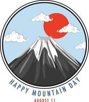 Happy Mountain Day in Japan on August 11 banner with Mount Fuji vector